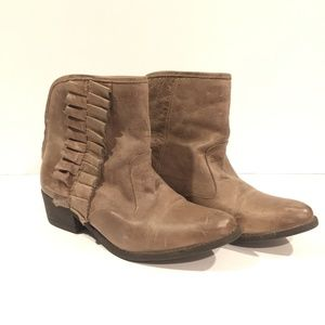 BETSEY JOHNSON Taupe Leather Ruffle Booties 7.5